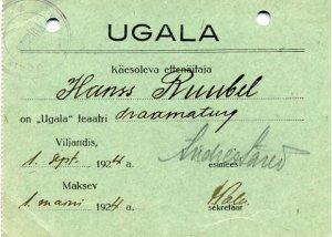 Estonian Actor & Director ANDRES SAREV Autographed Card 1924