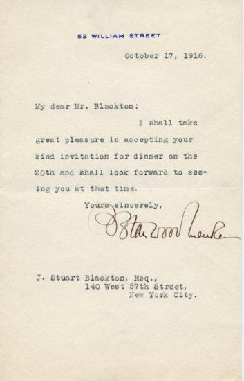 Founder of the National Security League SOLOMON STANWOOD MENKEN TLS 1916