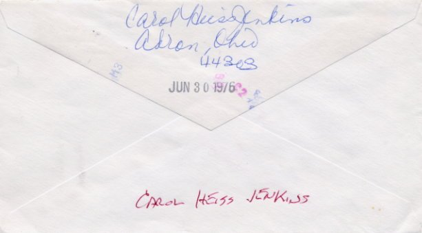 1960 Squaw Valley Figure Skating Gold CAROL HEISS Autographed Envelope 1976