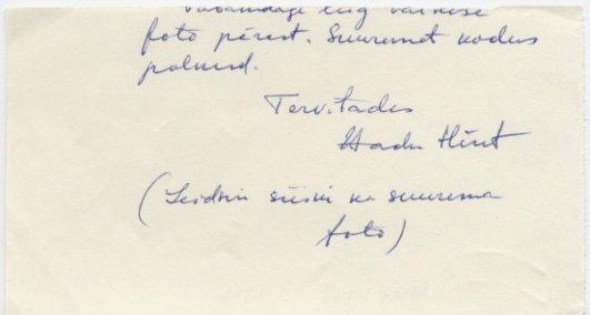 Estonian Novelist AADU HINT Autograph Note Signed 1978