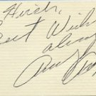 1940s American Pop Singer ANDY RUSSELL Hand Signed Card 1983
