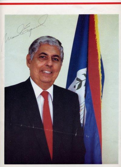 Former Prime Minister of Belize Sir MANUEL ESQUIVEL  Autographed Print 11x16