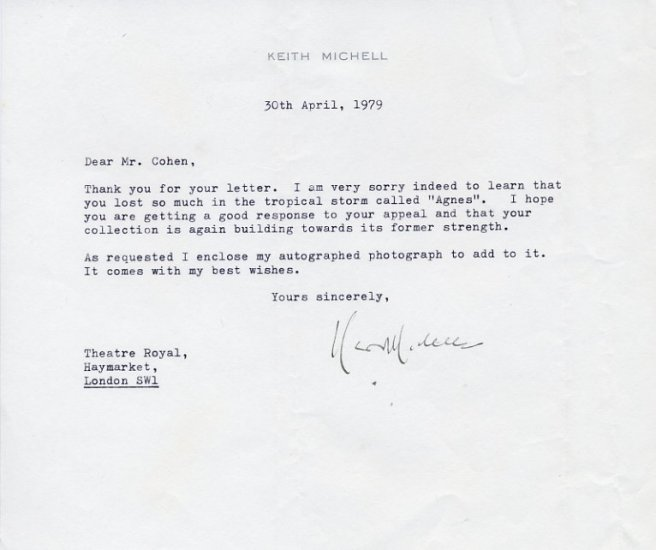 Australian Actor  KEITH MICHELL Typed Letter Signed 1979