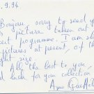 French Pianist ANNE QUEFFELEC Autograph Note Signed 1994