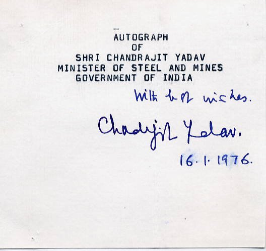 Indian Politician CHANDRAJIT YADAV Autograph 1976