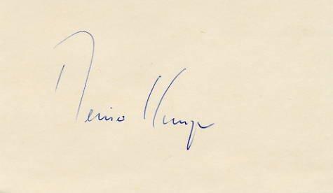 German Poet  REINER KUNZE Autographed Card 3x5 from 1977