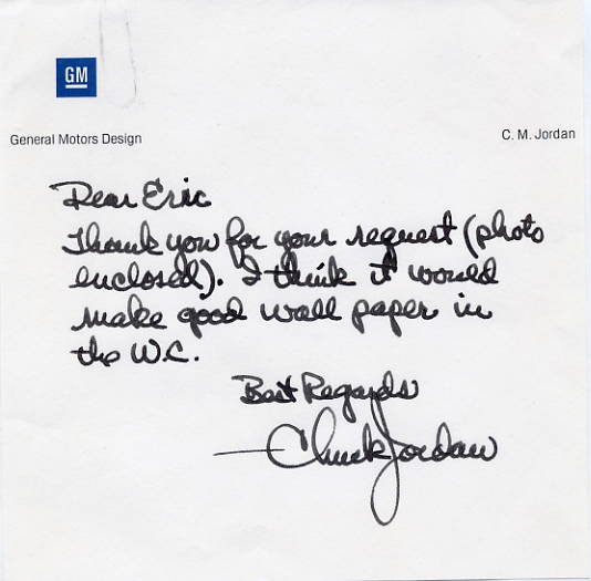 Legendary General Motors Designer CHUCK JORDAN Autograph Note Signed Content