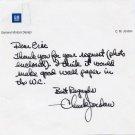 Legendary General Motors Designer CHUCK JORDAN Autograph Note Signed Content