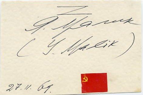 United Nations Soviet Diplomat YAKOV MALIK Autographed Card 1969