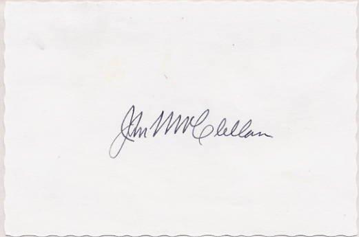 Arkansas Senator JOHN L. McCLELLAN Autographed Card from 1973