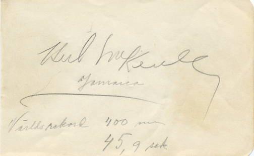 1952 Helsinki Athletics 4x400m Gold HERB McKENLEY Autograph 1950s