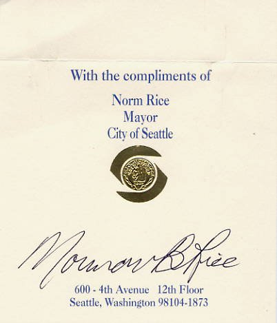 1990-97 Mayor of Seattle NORMAN RICE Hand Signed Card 4x5