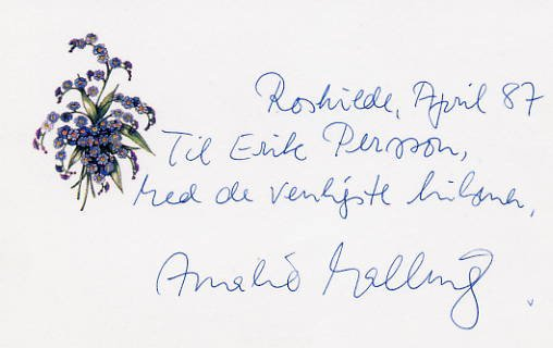 Danish Pianist AMALIE MALLING Autograph Note Signed 1987