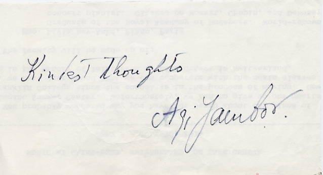 Hungarian Pianist AGI JAMBOR Autograph 1970s