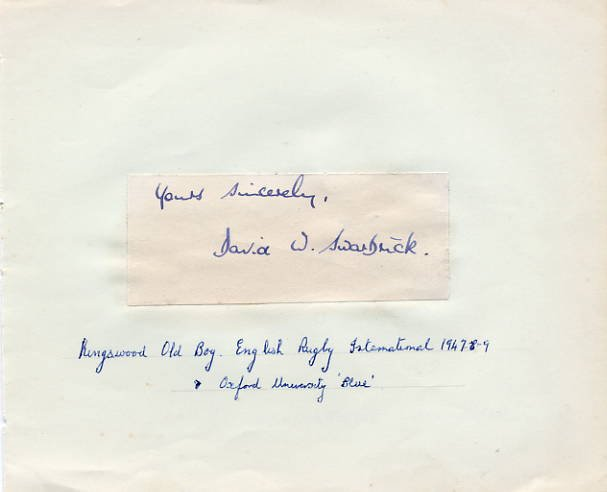 English Rugby Player DAVID W. SWARBRICK Autograph 1940s