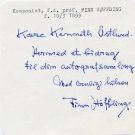Danish Composer FINN HOFFDING Autograph Note Signed