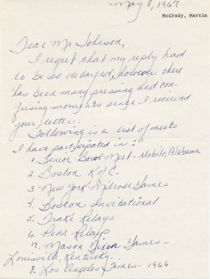 1960s Central State 600y WR Runner MARTIN McGRADY Autograph Letter Signed 1967