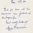 Swedish Author & Journalist AGNE HAMRIN Autograph Letter Signed 1970