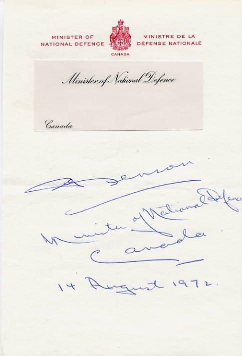 Canadian Politician EDGAR BENSON Autograph Note Signed 1972