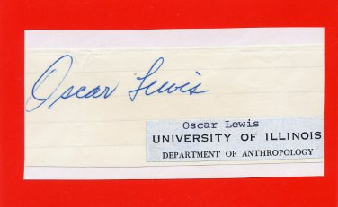 American Anthropologist OSCAR LEWIS Autograph from 1960s