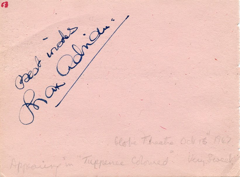 Actors MAX ADRIAN & MICHAEL WILDING Autographs from 1947