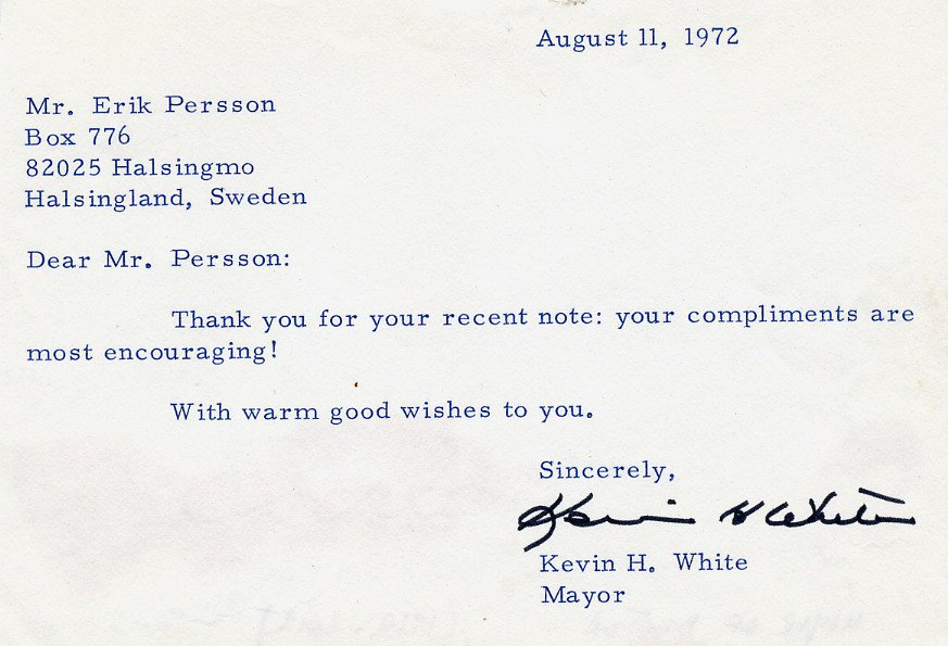 1968-84 Mayor of Boston KEVIN H. WHITE Typed Note Signed 1972