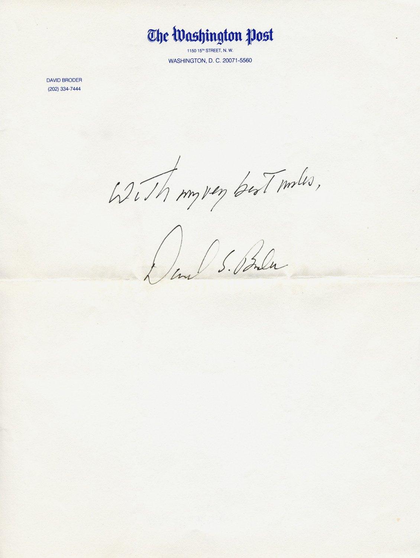 1973 Pulitzer Prize Washington Post Journalist DAVID S. BRODER ANS