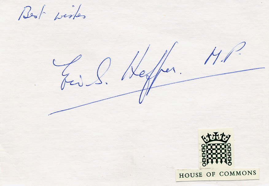 British Labour Party Politician ERIC S. HEFFER Autographed Card 1970s