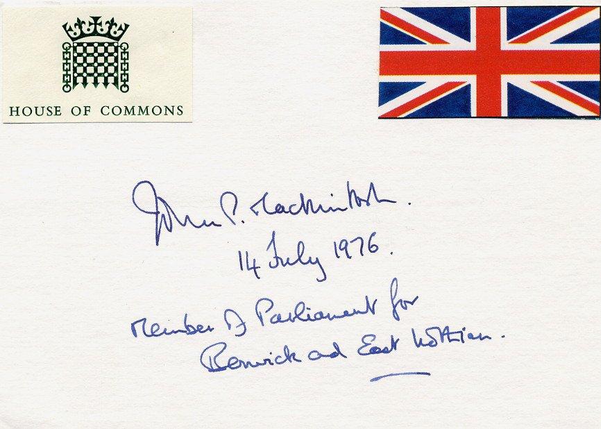 Scottish Labour Party Politician MP JOHN P. MACKINTOSH Autographed Card 1976