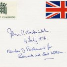 Scottish Labour Party Politician MP JOHN P. MACKINTOSH Autographed Card 1976