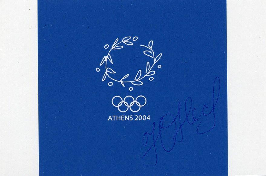 2004 Athens Athletics 100m Gold YULIA NESTERENKO Autographed Photo Card 4x6