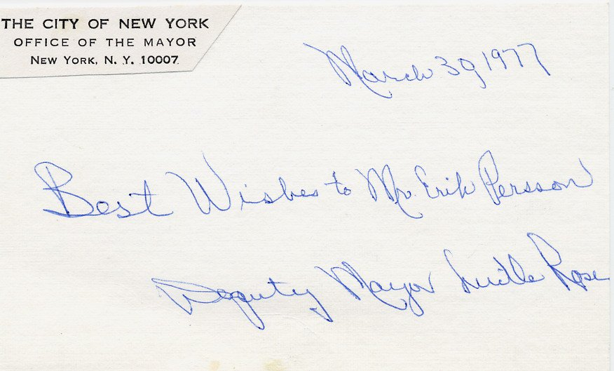 First Woman Deputy Mayor of New York LUCILLE ROSE Autographed Card 1977