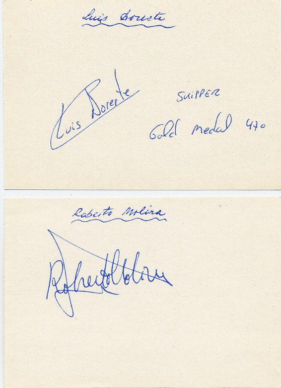 1984 Los Angeles Sailing Gold LUIS DORESTE & ROBERTO MOLINA Autographs 1984