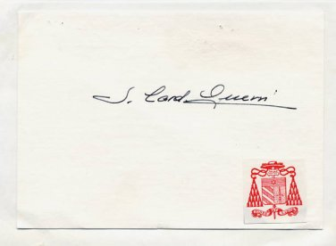 1955-89 Personal Theologian to Five Popes SERGIO CARDINAL GUERRI Hand Signed Card 1970s