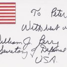 1994-97 Secretary of Defense w/ Clinton WILLIAM PERRY Autograph Note Signed 1996