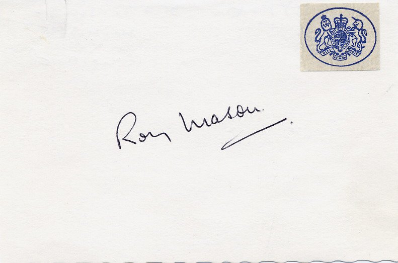 British Labour Party Politician & Secretary of Defence ROY MASON Autograph 1970s