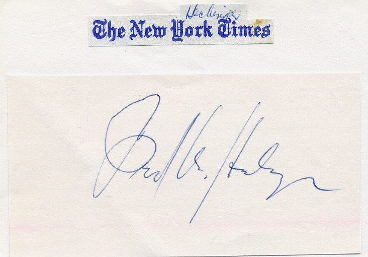 1959-90 The New York Times Editor FRED HECHINGER Autograph 1970s