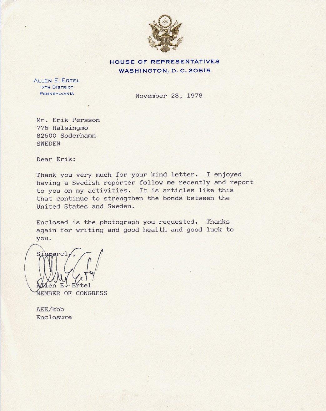 1977-83 US Representative from PA ALLEN E. ERTEL Typed Letter Signed 1978