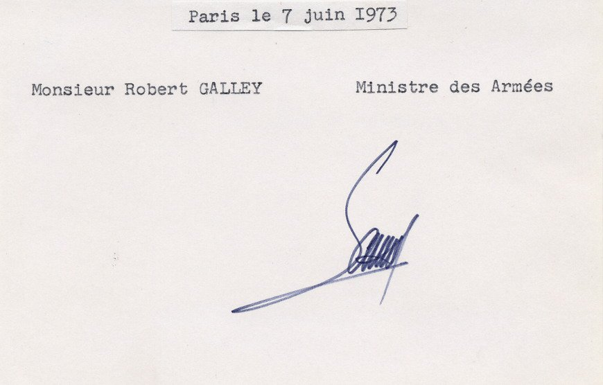 France - 1973-74 Minister of Defence ROBERT GALLEY Autographed Card from 1973