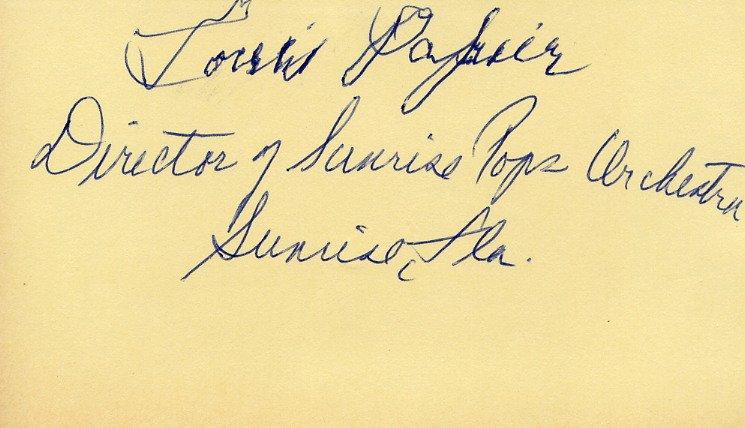 Founder of Sunrise Symphonic Pops Orchestra LOUIS PAPIER Autographed Card 1989