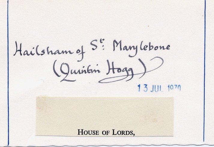 British Conservative Politician Lord HAILSHAM of St MARYLEBONE Signed Card 1970