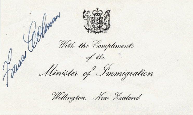 New Zealand - Politician & Mururoa Nuclear Protest FRASER COLMAN Autograph 1973