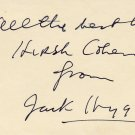 Prolific Novelist JACK HIGGINS Autograph Note Signed from 1977