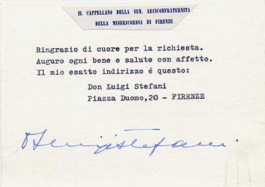 Italy - Firenze Don LUIGI STEFANI Hand Signed Card 1970s Autografo