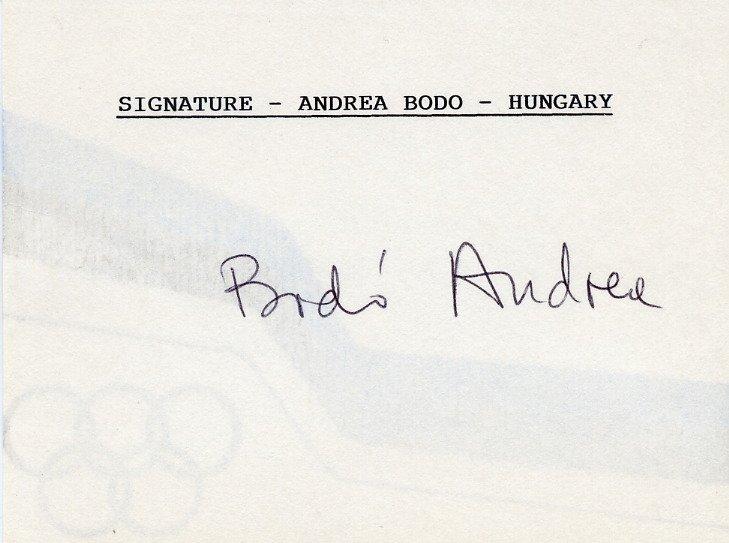 1956 Melbourne Olympics Gymnastics Gold ANDREA BODO Autographed Card 1980s