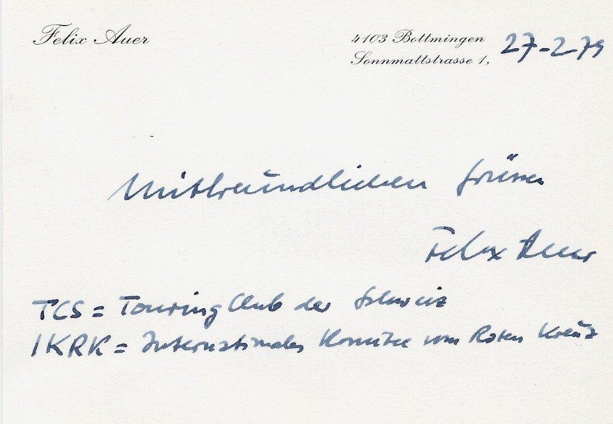Swiss Journalist and Politician FELIX AUER Autographed Card 1979