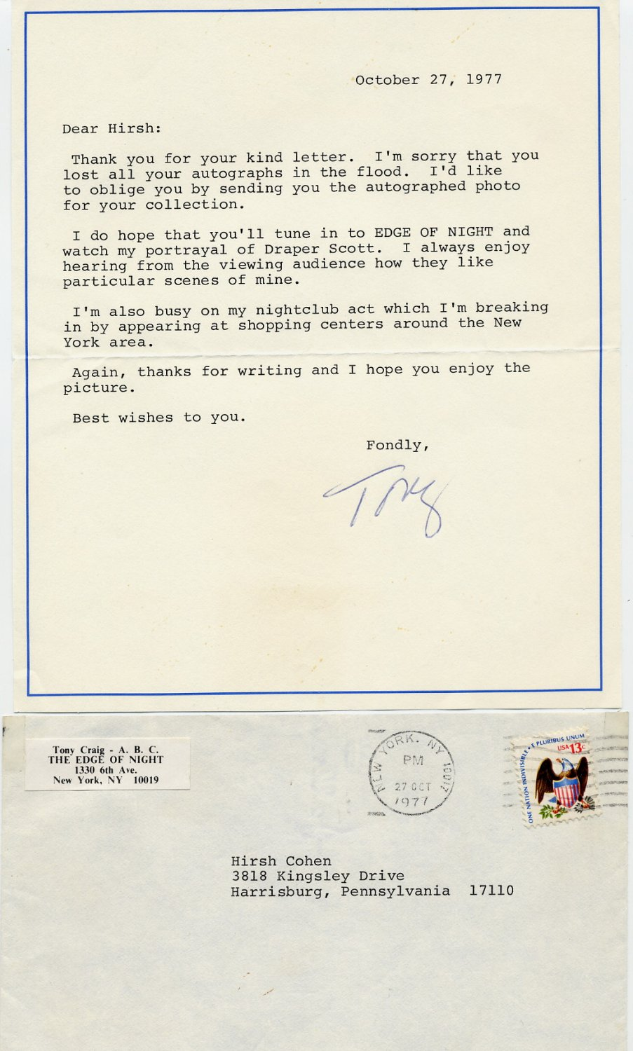 ABC The Edge of Night Actor Draper Scott TONY CRAIG Typed Letter Signed 1977