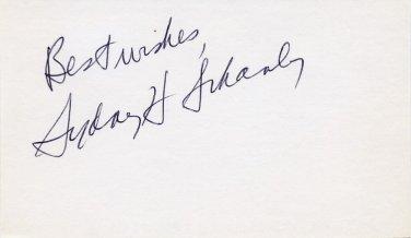 Pulitzer Prize American Journalist SYDNEY SCHANBERG Autographed Card 1970s