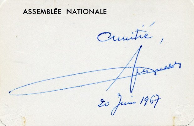1956-57 Prime Minister of France GUY MOLLET Hand Signed Card from 1967