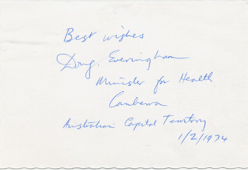 Australia - 1972-75 Minister for Health DOUG EVERINGHAM Autographed Card 1974